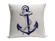 Decorative pillow - Pillow - Throw pillow - Accent pillow - Decorative throw pillow - Nautical pillow - Linen pillow - Blue and white. $18.00, via Etsy.