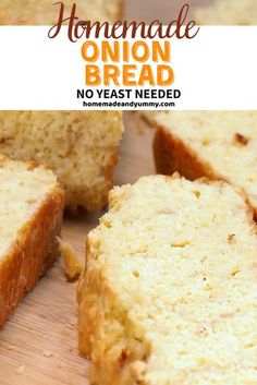No yeast, no problem. You will master this Onion Bread the first time. Perfect for soup, chili and stew. #homemadeandyummy #homemadebread #onionbread #noyeastbread #breadrecipe | homemadeandyummy.com Breakfast Bread Recipes, Healthy Bread Recipes, Best Bread Recipe, Muffin Recipes, Baking Recipes, Yummy Recipes, Vegan Recipes, Kitchen Recipes, Pizza Recipes