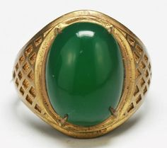 RP:  Highly Translucent Green Jade Gold Ring - by Elegance Auctioneers