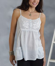 Stetson White Embroidered Button-Up Camisole - Women   Something special every day