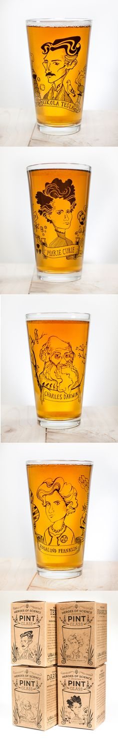 Heroes of Science Pint Glasses! Nikola Tesla, Marie Curie, Rosalind Franklin, Charles Darwin