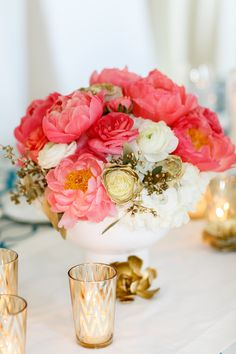 Pretty Pink and Gold Centerpiece