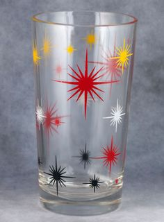 "Vintage Hazel Atlas ""Star Galaxy"" 8 Oz. Sour Cream Glass Tumbler 1950-1960's"