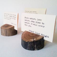 12 Handmade Rustic Wooden Wedding Place Card Holder / Picture Holder / Business Card - Weathered Oak. $36.00, via Etsy.