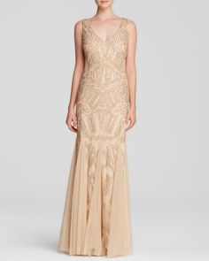 Adrianna Papell Gown - Deep V-Neck Beaded Illusion Panel Open Back | Bloomingdales's