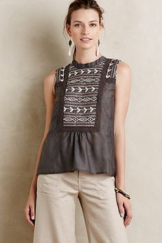 Embroidered Peasant Tank #anthropologie