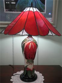 Volcania Art Glass was commissioned to make this lampshade for a local potter.