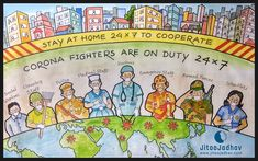 Corona fighters are on duty Cooperate them by staying at home wallpaper Corona Fighters Earth Drawings, Bff Drawings, Oil Pastel Drawings, Art Drawings For Kids, Drawing For Kids, Drawing Ideas, Save Girl Child Slogans, Poster Drawing, Drawing Quotes