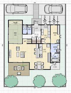 間取り成功例42坪 家庭訪問をスッキリ玄関で!片付け苦手な奥様の家   アトリエコジマ~注文住宅理想の間取り作りと失敗しないアイデア・実例集~ Japanese House, House Layouts, House Plans, Floor Plans, How To Plan, Interior, Home, Houses, Blueprints For Homes