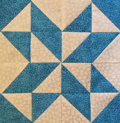 "HAPPY FATHER""S DAY ! !   And a Quilt Block PATTERN !  Triangle practice with this blockMy triangle tutorial     Cut 8 Blue – 3 7/8"" x 3 7/8""Cut 8 White - 3 7/8"" x 3 7/8""Make Triangles  Sew as shown"