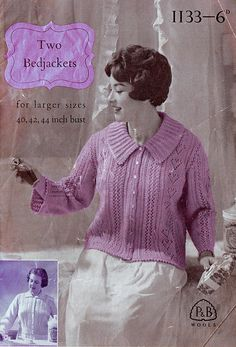 Items similar to PDF Vintage Womens Bed Jacket Knitting Pattern P & B 1133 Larger Sizes Ladies HEART Patons and Baldwin Lacy Heirloom Sex Kitten on Etsy Retro Outfits, Vintage Outfits, Quick Knits, Retro Clothing, Vintage Knitting, Capes, Kitsch, Psychedelic, Macrame
