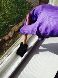 Use a sponge brush dipped in Pine-sol or white vinegar to clean your window tracks.