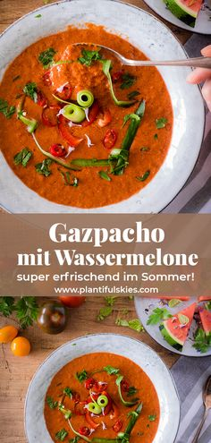 Gazpacho with watermelon quick and refreshing. Gazpacho with watermelon quick and refreshing. Healthy Summer Recipes, Spring Recipes, Dinner Healthy, Soup Appetizers, Appetizer Recipes, Raw Food Recipes, Soup Recipes, Easter Dinner Recipes, Potluck Dishes