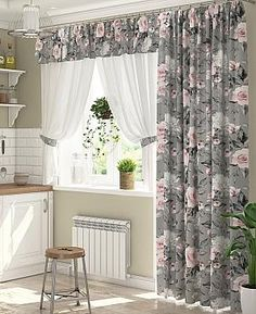 Living Room Decor Curtains, Kitchen Window Curtains, Curtains With Blinds, Home Decor Bedroom, Elegant Curtains, Bedroom Bed Design, Curtain Styles, Small House Design, Home Design Plans