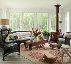 I would just love a four season porch with a fireplace a for Wood burning stove for screened porch