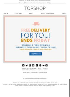 Lovely Free Delivery email design from Topshop
