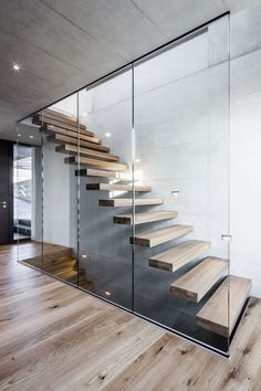 Concrete Staircase, Glass Stairs, Floating Staircase, Staircase Design, Modern Stairs Design, Cantilever Stairs, Stairs Architecture, Architecture Design, Oak Framed Buildings