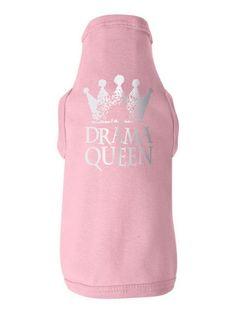 Drama Queen Pink Baby-Rib Dog Tank