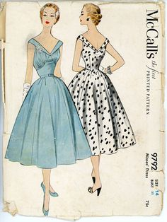1950s Full Skirt Evening Dress Pattern McCalls 9792 by CynicalGirl