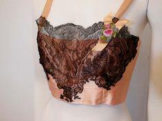 20s bra / Darling Pink and Black 1920's Lace Bra.  via Etsy.