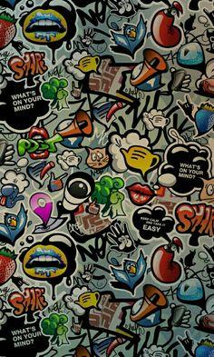 Show ne view Sticker Bomb Wallpaper, Pop Art Wallpaper, Graffiti Wallpaper, Cartoon Wallpaper, Mobile Wallpaper, Wallpaper Backgrounds, Iphone Wallpaper, Graffiti Cartoons, Graffiti Art