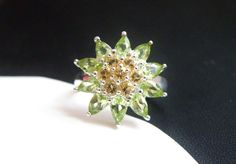 QVC Sterling Silver 925 Genuine Peridot Citrine Cluster Flower Ring Size 7 #Cluster