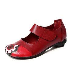 Buckle Hook & Loop Round Toe Soft Sole Dancing Platform Shoes