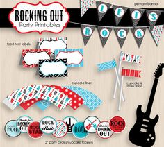 ROCK GUITAR Birthday Party Printable Package por PrintasticDesign