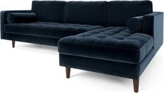 Scott 4 Seater Right Hand Facing Chaise End Corner Sofa, Navy Cotton Velvet Corner Sofa Navy, Velvet Corner Sofa, Two Bedroom, Bedroom Decor, Dartmouth, Luxury Sofa, Cotton Velvet, House Interiors, Living Room Sofa