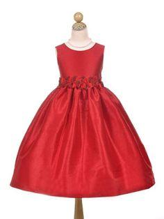 Poly Dupioni Holiday Girl Dress - Red/ Burgundy Flower Girl Dresses