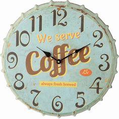 Creative Co-Op Metal Bottle Cap Wall Clock, Aqua for sale online Coffee Clock, Coffee Coffee, Coffee Break, Coffee Time, 50s Decor, Aqua Walls, Linen Baskets, Retro Diner, Tabletop Clocks