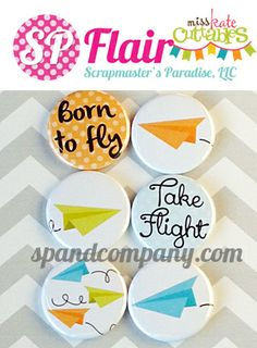 Paper Airplanes Flair 6PK - Miss Kate Cuttables Collection