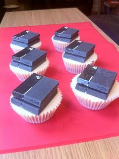 Playstation-4-cupcake  Who wants a PS4 made out of Cup Cakes? We do.  #PS4Cupcake #HappyBirthdayStephenRushbrook #StainlessGames