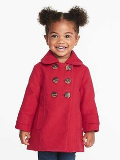 Double-Breasted Peacoat for Toddler Girls / holiday style / kids fashion / red coat / affordable kids fashion #peacoat #sweaterweather #staywarm #holidaystyle #commissionlink #kids #kidsfashion