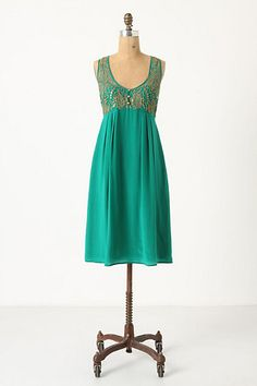 Flickering Slip Dress in Kelly Green from Anthropologie