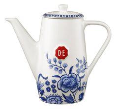 D.E Hylper koffiepot - wit blauw, white blue #coffee #HylperHeritage #DouweEgberts