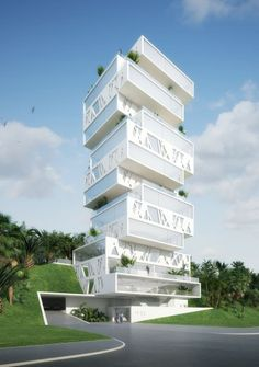 """""""The Cube"""", a luxury apartment block under construction in Sin el Fil, an eastern district of Beirut, Lebanon. By """"Orange Architects"""" , a partnership between Dutch architecture firms JSA , CIMKA  and HofmanDujardin. To be completed in 2013."""
