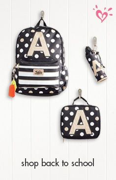 Initial here (and here and here)! Introducing our made-to-match school supplies in prints created by our in-house designers (which means you won't find them anywhere else)! Our backpacks and accessories make it to the top of her back-to-school checklist because of their standout style, gotta-have embellishments, mood-boosting messaging, and, of course, personalized touches. Find every initial at ShopJustice.com!