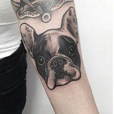 #bulldog#blackwork#tattoo