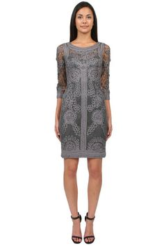 The 3/4 Sleeve Short Dress in Charcoal by Sue Wong at CoutureCandy.com