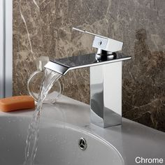 Designed to reflect modern European style, this beautiful, clean bathroom sink faucet is a fashionable and functional addition to any basin sink. Available in three contemporary colors, this single-lever faucet features a waterfall flow.