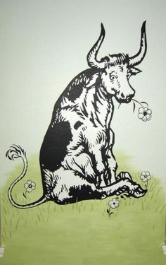 Ferdinand the Bull.happy with this flowers I loved this book as a child (Jupiter in Taurus in the house of service & health) HOW things happens in my house of service & health. Ferdinand The Bulls, Tattoo Filler, Bull Tattoos, Accordion Book, Taurus Woman, Cow Art, My Canvas, Just In Case, Moose Art