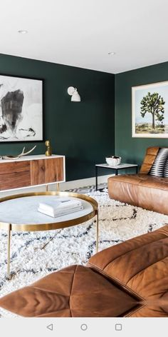 dark green walls contrast warm brown leather furniture and make the living room . dark green walls contrast warm brown leather furniture and make the living room very relaxing interior walls Tiny Living Rooms, Living Room Green, Living Room Interior, Home Living Room, Living Room Designs, Brown Carpet Living Room, Cozy Living, Brown Leather Couch Living Room, Apartment Living