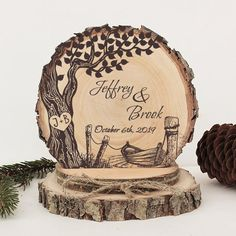 Old Tree on Lake with Boat Cake Topper. Old Tree on Lake with Boat Cake Topper. Wood Burning Crafts, Wood Burning Art, Rustic Wedding Cake Toppers, Wedding Rustic, Wedding Cakes, Boat Cake, Gravure Laser, Rustic Wood, Wood Wood