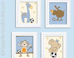 Baby art posters, Soccer nursery, baby boy art, giraffe, elephant, monkey, dog, light blue orange, kids art