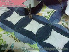 Acolchado - Quilt  decorativo hecho en Jean