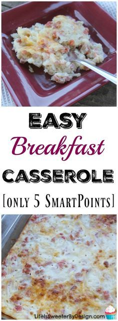 Easy breakfast casserole is delicious and has only 5 Weight Watchers SmartPoints per serving. This is a great Weight Watchers recipe for breakfast or dinner!