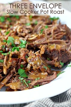 Three Envelope Slow Cooker Pot Roast: This flavorful pot roast comes together with just three simple envelopes of ingredients. Perfect for Sunday dinner! Beef Pot Roast, Slow Cooker Roast, Crock Pot Slow Cooker, Crock Pot Cooking, Slow Cooker Recipes, Cooking Recipes, Crockpot Recipes, Cooking Tips, Freezer Recipes