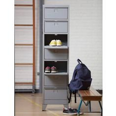 This industrial style storage unit is a great place to store your shoes, holds up to 7 pairs. Other items available in this range. Industrial Lockers, Industrial Style, Tall Cabinet Storage, Locker Storage, Door Locker, Cosy Sofa, Sit Back And Relax, Ladder Bookcase, Shelves