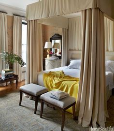 Nuanced blush and a shot of ochre in this impossibly elegant bedroom on the Upper East Side by Michael S. Upper East Side, Beautiful Bedrooms, Beautiful Homes, House Beautiful, Home Bedroom, Bedroom Decor, Bedroom Ideas, Bedroom Inspiration, New York Townhouse